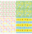 botanical spring floral seamless patterns set vector image
