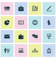 business icons set collection of suitcase vector image vector image