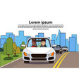 car with man and african american woman on road vector image