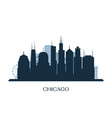 chicago skyline monochrome silhouette vector image vector image