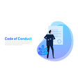 code of conduct business man looking at paper vector image