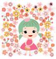 cute baby girl in flower garden vector image vector image