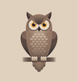 cute owl on light brown background vector image vector image