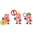 Deep Pink Pig Mascot with sign vector image vector image
