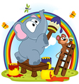 elephant and mouse draw rainbow vector image
