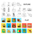 farm and agriculture flat icons in set collection