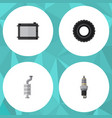 flat auto set of heater silencer wheel and other vector image vector image