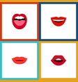 flat icon lips set of lipstick tongue smile and vector image vector image