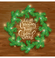 Frame of Christmas fir tree branches in circle sh vector image vector image