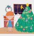 girl living room decorative tree balls chimney vector image vector image