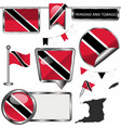 glossy icons with flag trinidad and tobago vector image