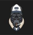 gorilla head trucker vector image vector image