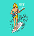 guy with a guitar surf badge vintage surfer logo vector image vector image