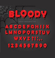 halloween blood font abc bright red liquid vector image