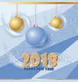 happy new year banner with balls and sparkle vector image