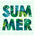 Hello summer card poster with text tropic leaf