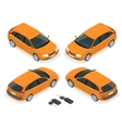 Isometric hatchback and car keys 3d flat vector image