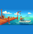 Lake with wooden pier and fisherman in boat