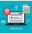 laptop online security web shop data design vector image