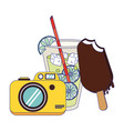 lemonade with ice cream and camera cartoon vector image vector image