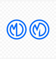 letter m d ligature monogram line circle icon vector image