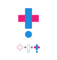 medical logo exclamation sign and cross logotype vector image vector image