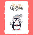merry christmas postcard with penguin holds heart vector image