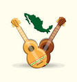 mexican country map and guitars vector image