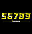 numbers abstract yellow and white modern sport vector image