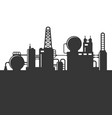 oil refinery plant silhouette vector image vector image
