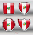 peru flag in 4 shapes collection vector image
