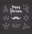 purim hand drawn icons set traditional jewish vector image vector image
