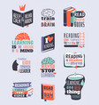 reading motivation quote phrases badge logo bubble vector image vector image