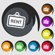 Rent icon sign Symbol on eight colored buttons vector image vector image