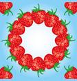 Round frame of ripe strawberries