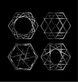 Set of Artistic hexagonal logos in silver vector image vector image