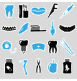 set of dental theme blue stickers eps10 vector image