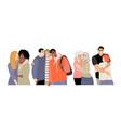set people hugging their friends friendship vector image