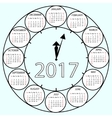 Simple Calendar 2017 circles clock time year vector image vector image