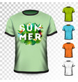summer holiday t-shirt design with tropical leaves vector image vector image