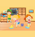 three kids cleaning in the house vector image vector image