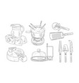 tools for chopping and cutting cheese steel vector image