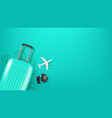 travel with handbag aircraft model and stamps vector image