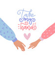 valentine s day greeting card take my hand vector image