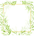 watercolor green leaves with golden glitter vector image vector image