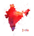 watercolor map india stylized image with spots vector image vector image