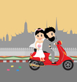 wedding couple on scooter vector image vector image