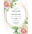 wedding floral invite invtation card design vector image vector image