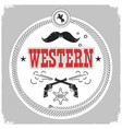western label with cowboy decotarion isolated on vector image vector image