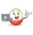 with laptop rambutan character cartoon style vector image